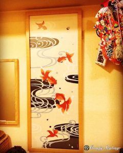 金魚の絵手拭い